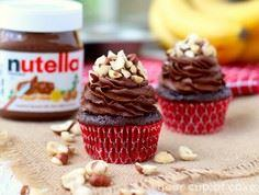 Chocolate Banana Nutella Cupcakes - 250 Yummy Banana Recipes - RecipePin.com