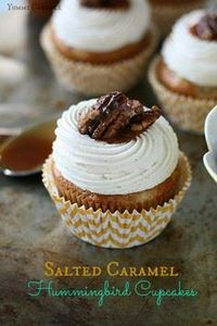 Salted Caramel Hummingbird Cupcake - 250 Yummy Banana Recipes - RecipePin.com
