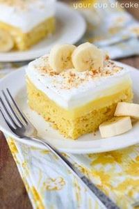 Easy Banana Pudding Poke Cake - 250 Yummy Banana Recipes - RecipePin.com