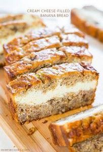 Cream Cheese-Filled Banana Bread - - 250 Yummy Banana Recipes - RecipePin.com