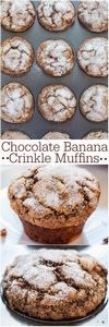 Chocolate Banana Crinkle Muffins - - 250 Yummy Banana Recipes - RecipePin.com
