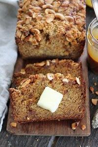 Salted Caramel Cashew Banana Bread - 250 Yummy Banana Recipes - RecipePin.com