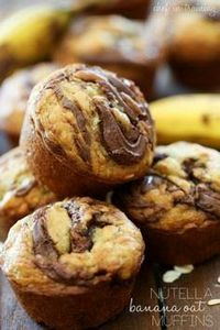 Nutella Banana Oat Muffins from ch - 250 Yummy Banana Recipes - RecipePin.com