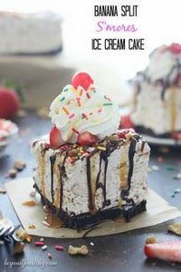 Banana Split S'mores Ice cream Cak - 250 Yummy Banana Recipes - RecipePin.com
