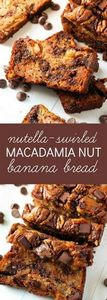 Nutella Swirled Macadamia Nut Bana - 250 Yummy Banana Recipes - RecipePin.com