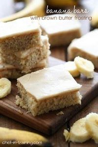 Banana Bars with Brown Butter Fros - 250 Yummy Banana Recipes - RecipePin.com
