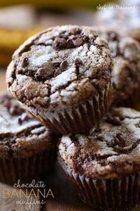 Chocolate Banana Muffins from chef - 250 Yummy Banana Recipes - RecipePin.com