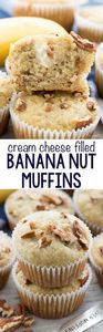 Cream Cheese Banana Muffins - this - 250 Yummy Banana Recipes - RecipePin.com