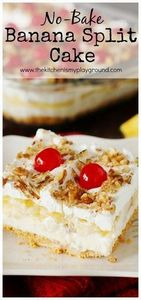 No-Bake Banana Split Cake has all  - 250 Yummy Banana Recipes - RecipePin.com