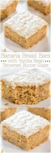 Banana Bread Bars with Vanilla Bea - 250 Yummy Banana Recipes - RecipePin.com