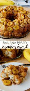 Banana Monkey Bread PIN - 250 Yummy Banana Recipes - RecipePin.com