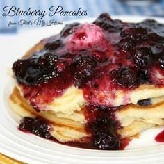 Blueberry Pancakes with Blueberry  - 200 Delicious Blueberry Recipes - RecipePin.com