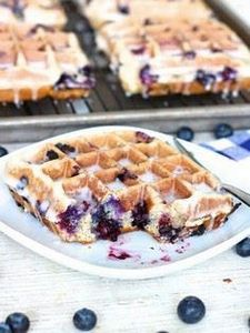 Blueberry Cake Waffles | Crispy wa - 200 Delicious Blueberry Recipes - RecipePin.com