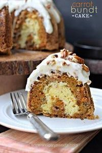 Carrot Bundt Cake with a ribbon of - 150 Tempting Bundt Cake Recipes - RecipePin.com