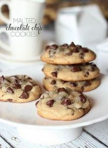 Soft Malted Chocolate Chip Cookies - 300 Favorite Cookie Recipes - RecipePin.com