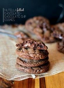 Nutella Filled Chocolate-Chocolate - 300 Favorite Cookie Recipes - RecipePin.com
