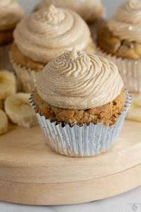 Tender banana cupcakes toppe with  - 280 Cupcake Recipes - RecipePin.com