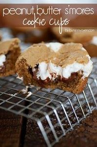Peanut Butter Smores Cookie Cups - 240 Desserts with Peanut Butter Or Nut Butter - RecipePin.com