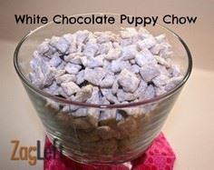 White Chocolate Puppy Chow - 240 Desserts with Peanut Butter Or Nut Butter - RecipePin.com