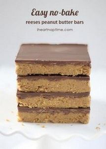 Reeses peanut butter no-bake bars  - 240 Desserts with Peanut Butter Or Nut Butter - RecipePin.com