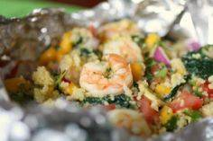 Shrimp and Kale Packets with Mango - 275 Fish Recipes - RecipePin.com