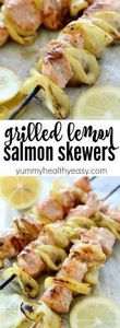 Salmon Skewers tossed in a garlic- - 275 Fish Recipes - RecipePin.com