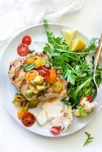Grilled Halibut with Tomato Avocad - 275 Fish Recipes - RecipePin.com