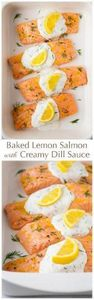 Baked Lemon Salmon with Creamy Dil - 275 Fish Recipes - RecipePin.com