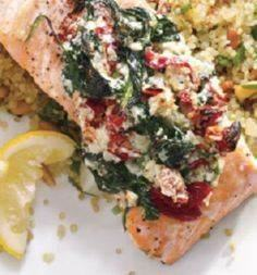 Salmon with feta, roasted red pepp - 275 Fish Recipes - RecipePin.com