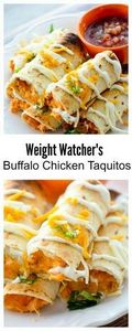 Baked Buffalo Chicken Taquitos for - 300 Healthy Dinner Recipes - RecipePin.com