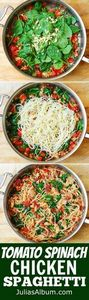 Tomato Basil & Spinach Chicken - 300 Healthy Dinner Recipes - RecipePin.com