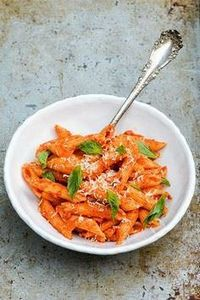 Penne Pasta with Roasted Red Peppe - 300 Healthy Dinner Recipes - RecipePin.com