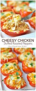 Cheesy Chicken Stuffed Peppers - t - 300 Healthy Dinner Recipes - RecipePin.com