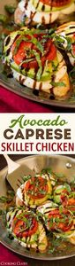 Avocado Caprese Skillet Chicken -  - 300 Healthy Dinner Recipes - RecipePin.com