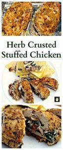 Herb Crusted Stuffed Chicken Breas - 300 Healthy Dinner Recipes - RecipePin.com