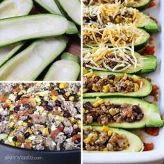Turkey Santa Fe Zucchini Boats | S - 300 Healthy Dinner Recipes - RecipePin.com