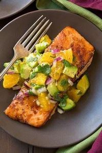 Honey Glazed Salmon with Citrus Av - 300 Healthy Dinner Recipes - RecipePin.com