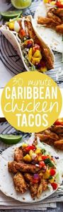 30 Minute Caribbean Chicken Tacos - 300 Healthy Dinner Recipes - RecipePin.com