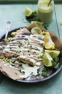 Baked Salmon with Avocado Cream Sa - 300 Healthy Dinner Recipes - RecipePin.com