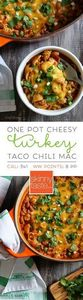One Pot Cheesy Turkey Taco Chili M - 300 Healthy Dinner Recipes - RecipePin.com
