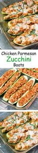 Chicken Parmesan Zucchini Boats -  - 300 Healthy Dinner Recipes - RecipePin.com