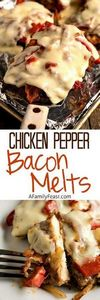 Chicken Pepper Bacon Melts - Tende - 300 Healthy Dinner Recipes - RecipePin.com