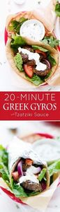 20 Minute Greek Gyros with Tzatzik - 300 Healthy Dinner Recipes - RecipePin.com