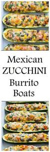 Mexican Zucchini Burrito Boats- a  - 300 Healthy Dinner Recipes - RecipePin.com