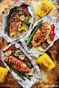 Grilled Barbecue Chicken and Veget - 300 Healthy Dinner Recipes - RecipePin.com