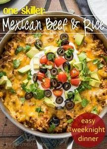 One Skillet Mexican Beef and Rice  - 300 Healthy Dinner Recipes - RecipePin.com