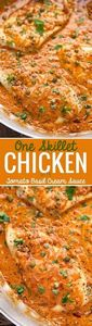 One Skillet Chicken with Tomato Ba - 300 Healthy Dinner Recipes - RecipePin.com
