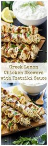 Greek Lemon Chicken Skewers with T - 300 Healthy Dinner Recipes - RecipePin.com
