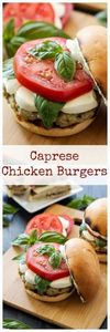Caprese Chicken Burgers |Everythin - 300 Healthy Dinner Recipes - RecipePin.com