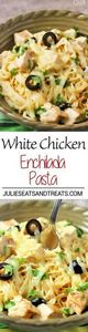 White Chicken Enchilada Pasta Reci - 300 Healthy Dinner Recipes - RecipePin.com
